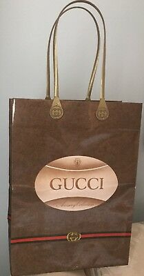 """Authentic 70s Vintage Gucci Paper Coated Gift Shopping Bag Plastic Handle 8""""x11"""""""