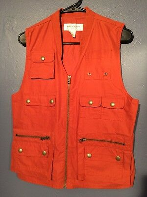 Vtg 80s 90s Jones New York Orange Sport Zip Vest Many Pockets Hiking Hunting S