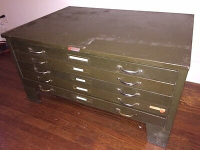 Vintage Industrial Flat File Cabinet by Hamilton