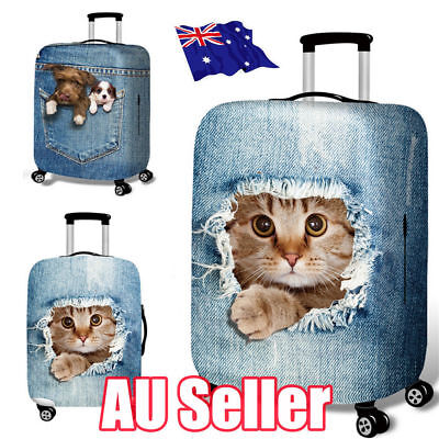 """25-32"""" Cat Dog Elastic Luggage Trolley Case Cover Durable Suitcase Protector S4"""