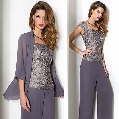 Violet Wedding Mother Of The Bride Dresses Long Pants Suits Outfit Chiffon US 2