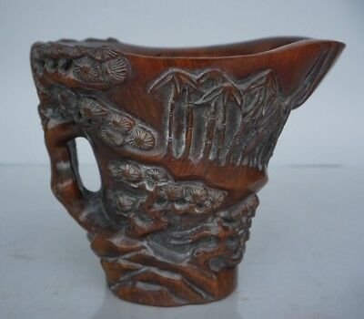 Chinese Exquisite hand-carved Ancient people landscape carving OX Horn cup