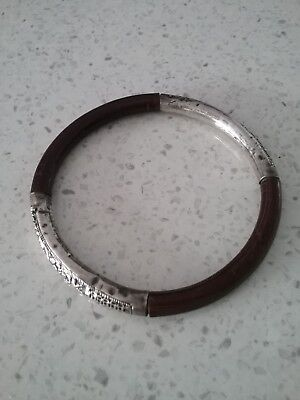 Antique Chinese Bamboo Rattan and Silver Bracelet.