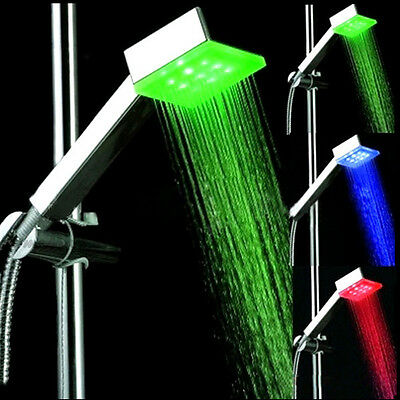 LED Light Hand Held Shower Head Sprayer with Color Changing Temperature Sensor