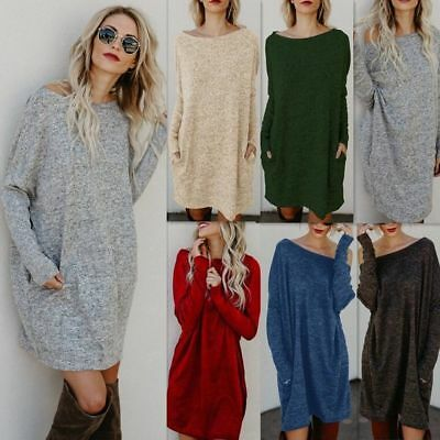 AU Womens Oversized Knitted Long Sweater Dress Jumper Ladies Blouse Top Pullover