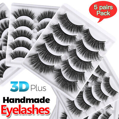 3D Real Mink Hand-made False Eyelashes 5 Pairs Natural Eye Lashes Makeup Fluffy