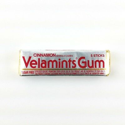 Vintage 1980s Velamints Cinnamon Chewing Gum 5 Sticks Prevent Tooth Decay Rare