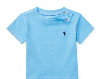 Bnwt Boys Ralph Lauren T Shirt  Age 12  Months Short Sleeve Pale Blue