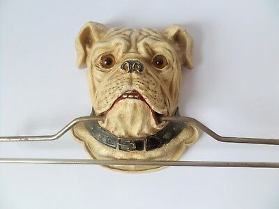 Unusual Painted Carved Wood Glass Eyed Bulldog 1930
