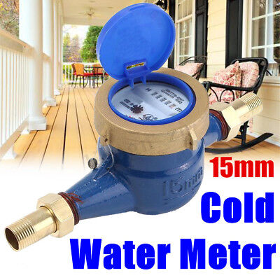 """3/4"""" 20mm Garden Home Brass Flow Measure Tape Cold Water Meter Counter Tools"""