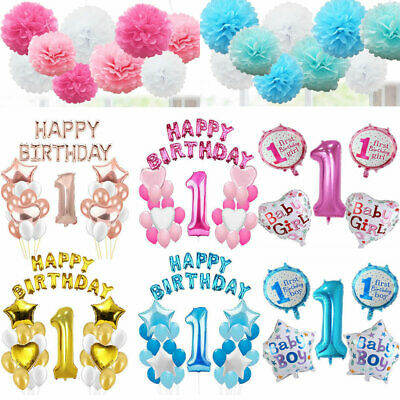 Happy 1st Birthday Party Foil Balloons Baby Boy Girl Pink Blue Pom poms Banner