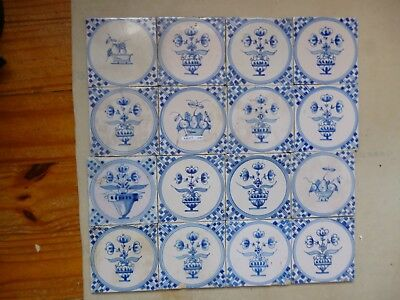 16 X Antique Delft Tiles Around 1880