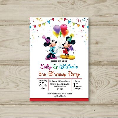 Mickey Mouse Minnie Mouse Balloons Birthday Party Invitations Personalised
