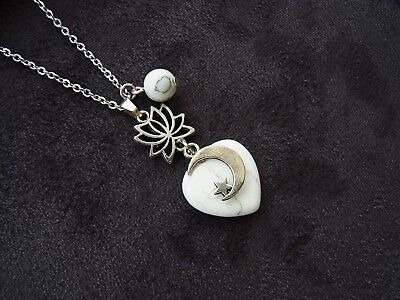 Howlite Heart Necklace Healing Chakra Lotus Flower Pendant Necklace Ladies Gift