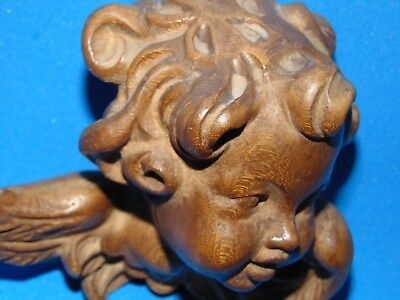 Beautiful wood carved Cherub Angel Head vintage German