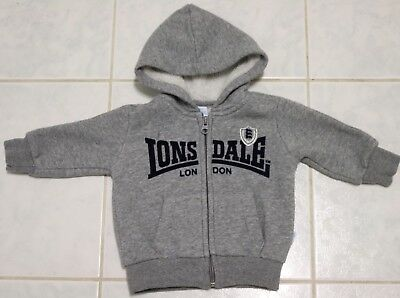 Infant Boy Girl Unisex LONSDALE Zipped Up Grey Hoodie 3-6 Months