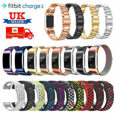 UK Fashion Crystal Stainless Steel Watch Band Wrist Strap For Fitbit charge 2 E
