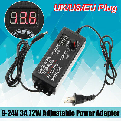 DC 9-24V 3A 72W Speed Control Volt AC/DC Adjustable Power Adapter Supply Display