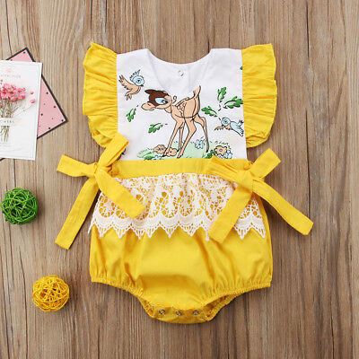 UK Newborn Baby Girl Romper Floral Bodysuit Sunsuit Summer Clothes Outfits 0-24M