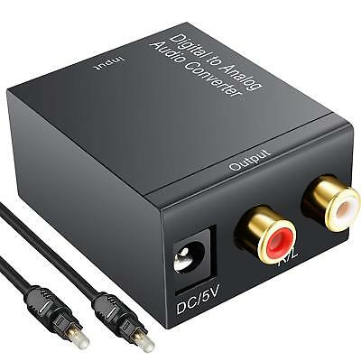 Digital Toslink to Analog Optical Coax Audio RCA L/R Adapter Stereo Converter UK