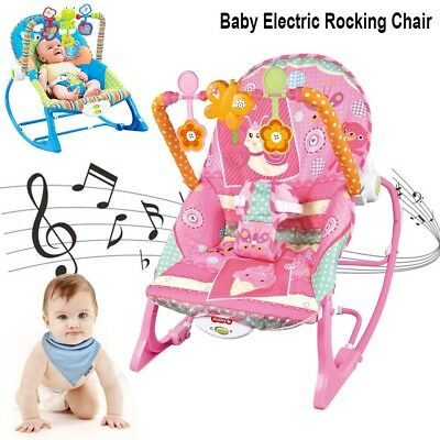 2 Colors Baby Rocking Chair Cradle Infant to Toddler Music Bouncer Rocker Sleep