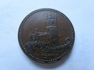 MASONIC TOKEN LODGE LIBERTON Dated 1201 & Issued c1920 CATHEDRAL PICTURED