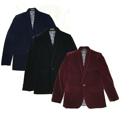 Boys Kids Velvet Blazer Jacket Navy Black Burgundy