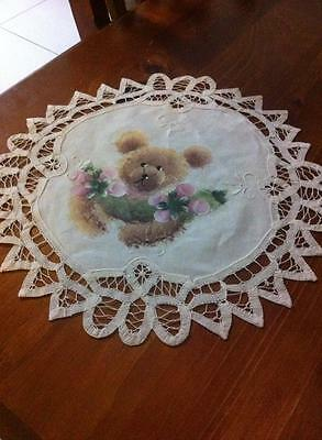 Round Hand Painted Doily 30 cm ..... EXCELLENT NEAR NEW CONDITION