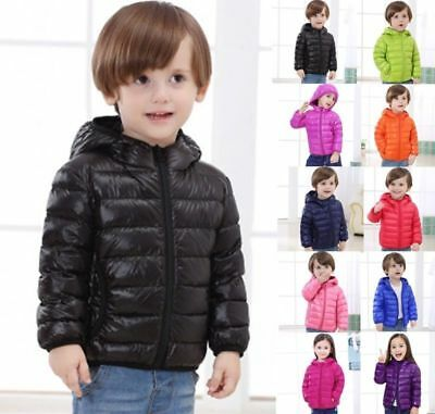 AU Kids Girls Boys Warm Winter Puffer Coat Ultralight Padded Down Hooded Jacket