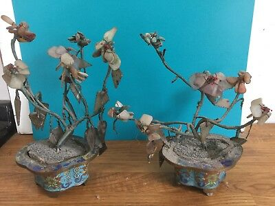 Old Chinese Jade Trees with carved foliage & flowers - pair in enamel pots