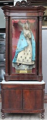Immaculate Virgin In Polichromate Woodcarving. Complete. 126 Cm.high.
