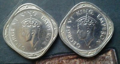 India-British 1/2 Anna, 1946 & 1947-B in a unc / b unc condition. FREE SHIPPING