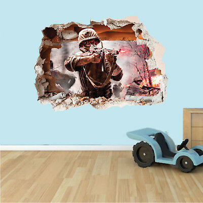 CALL OF DUTY COD WALL CRACK HOLE IN THE WALL 3D STICKER Decal, Mural,