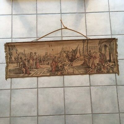 Antique 19th Century French Tapestry Original Courtship Scene