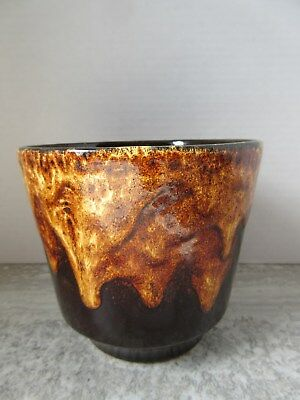 Old Vintage Mid Century W.German Art Pottery Flower Pot Brown Drip Glaze