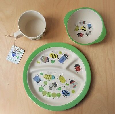 3 pc. Set Kids Bowl Cup Plate Feeding Food Children Tableware Busy Bugs
