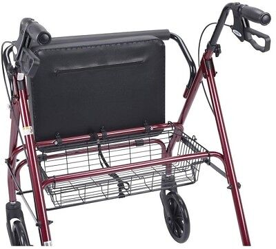 Rollator Walker Soft Padded Oversized Seat Heavy Duty 4-Wheel Bariatric Red