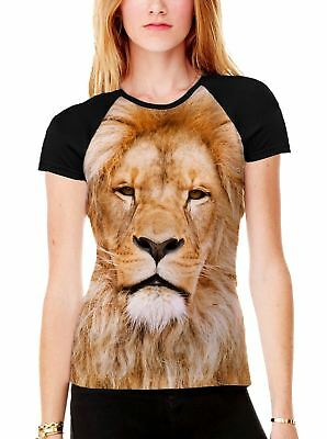 Leopard Face in Snow Women/'s All Over Graphic Contrast Baseball T Shirt