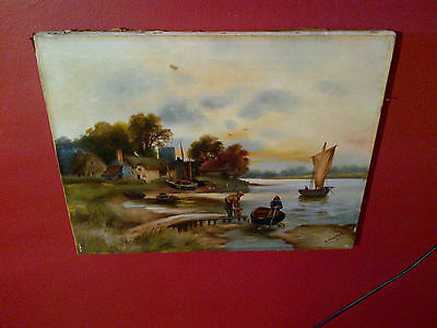 Fine Late 19th c,English Oil on Canvas. River Fishing Village View. Signed.