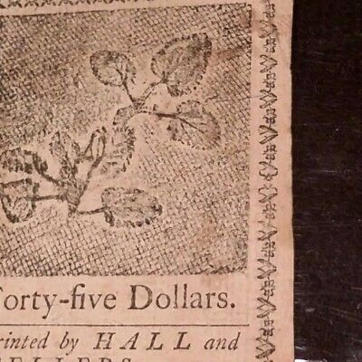 1779 Continental Currency USA Forty Five Dollars Choice Very Fine $ 45 Colonial