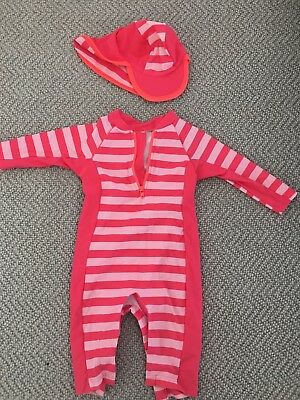 6-9 month baby girl sun safe all in one swim set - worn once