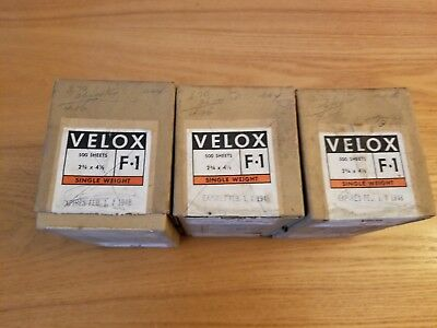 Vintage 1948 Lot Of 3 Boxes Kodak Photographic Paper F-1 2 3/4 X 4 1/2 Full