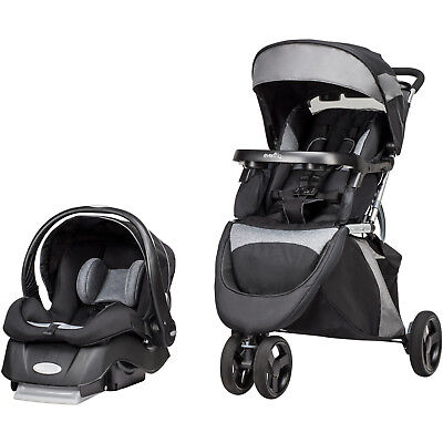 Black Stroller Travel System Canopy with Sun Visor and Car Seat Convertible 3in1