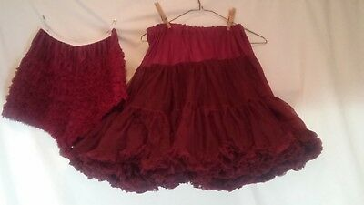 Burgundy Double Layer Petticoat Crinoline with Matching Pettipants Size Small