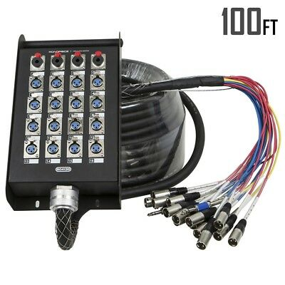 20-Channel Pro Audio Snake Stage Box 16x XLR & 4x TRS Female With 100FT Cable