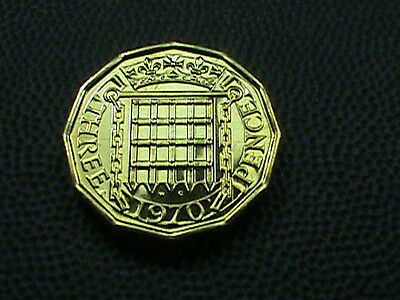 GREAT  BRITAIN    3 Pence  1970   PROOF   ,   $ 2.99  maximum  shipping  in  USA