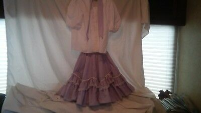 Square Dance Costume Outfit Partners Please Lavender Skirt & White Blouse