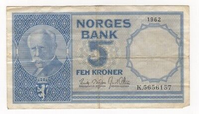 Norway 1962 Norges Bank 5 Kroner Paper Banknote — Circulated Condition