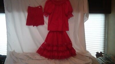 Square Dance Costume Partners Please/Malco Modes Hot Pink Skirt/ Matching Blouse