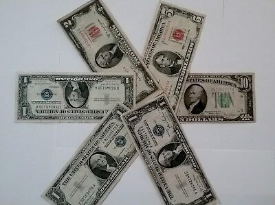 Lot Of 5 Old Currency (Silver Cert $1-35D,57A,57B) $2-35B Star, $5-63 $10-34C